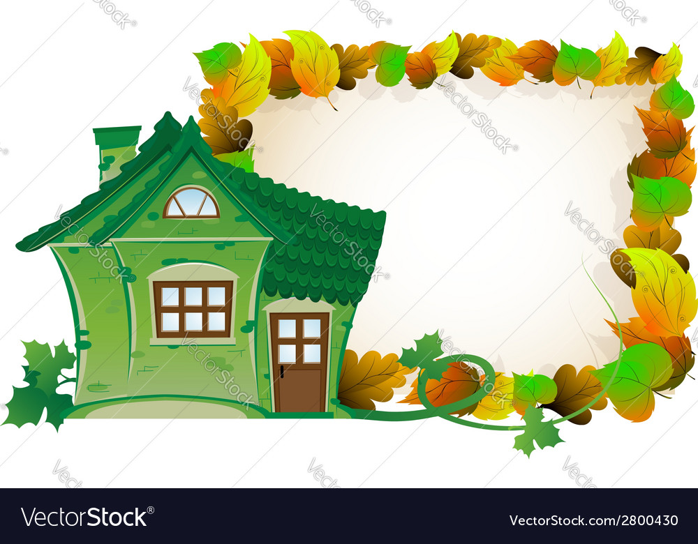 House on background of autumn leaves vector | Price: 1 Credit (USD $1)