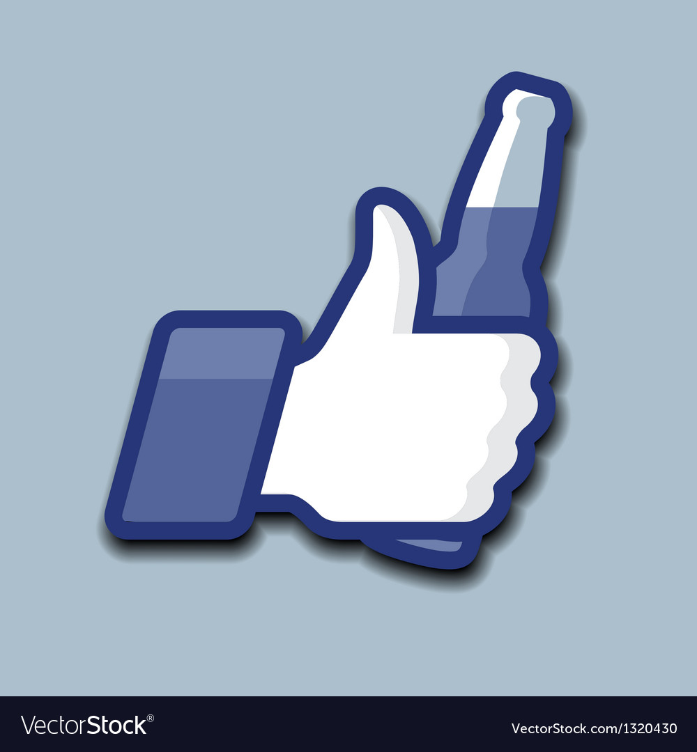Likethumbs up symbol icon with beer bottle vector | Price: 1 Credit (USD $1)