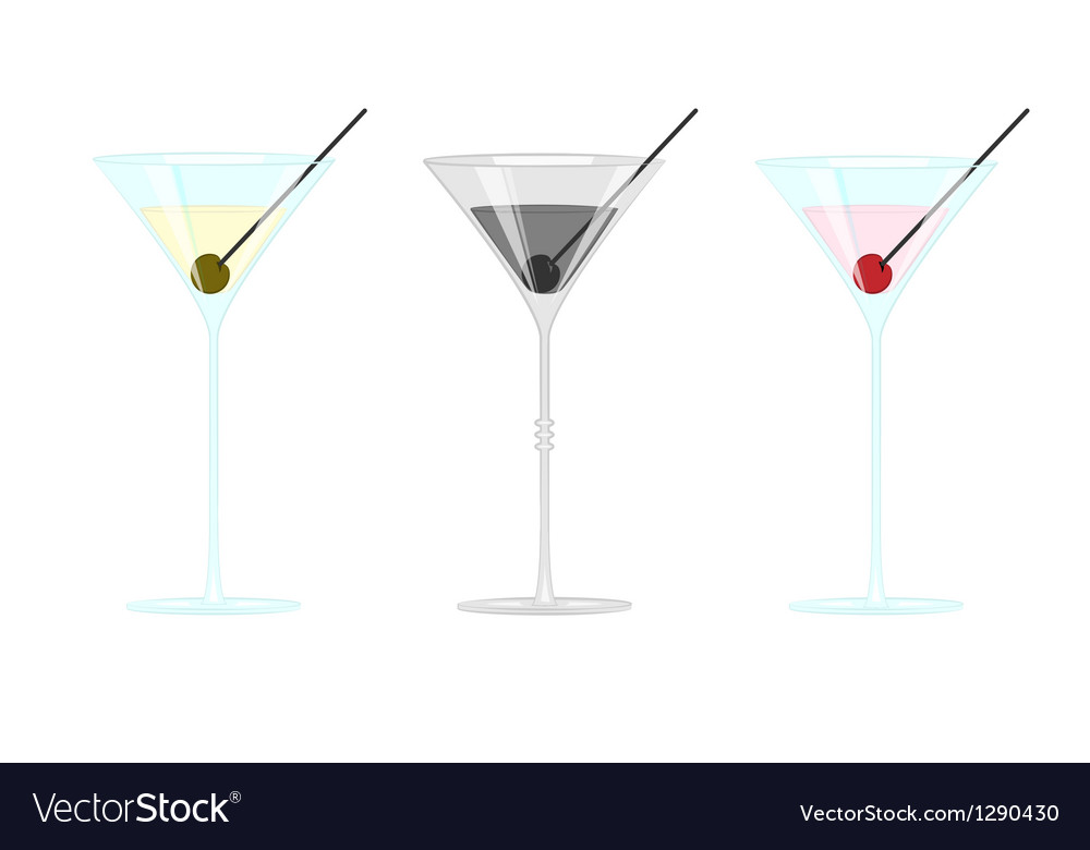Martini glass with olives and cherry vector | Price: 3 Credit (USD $3)