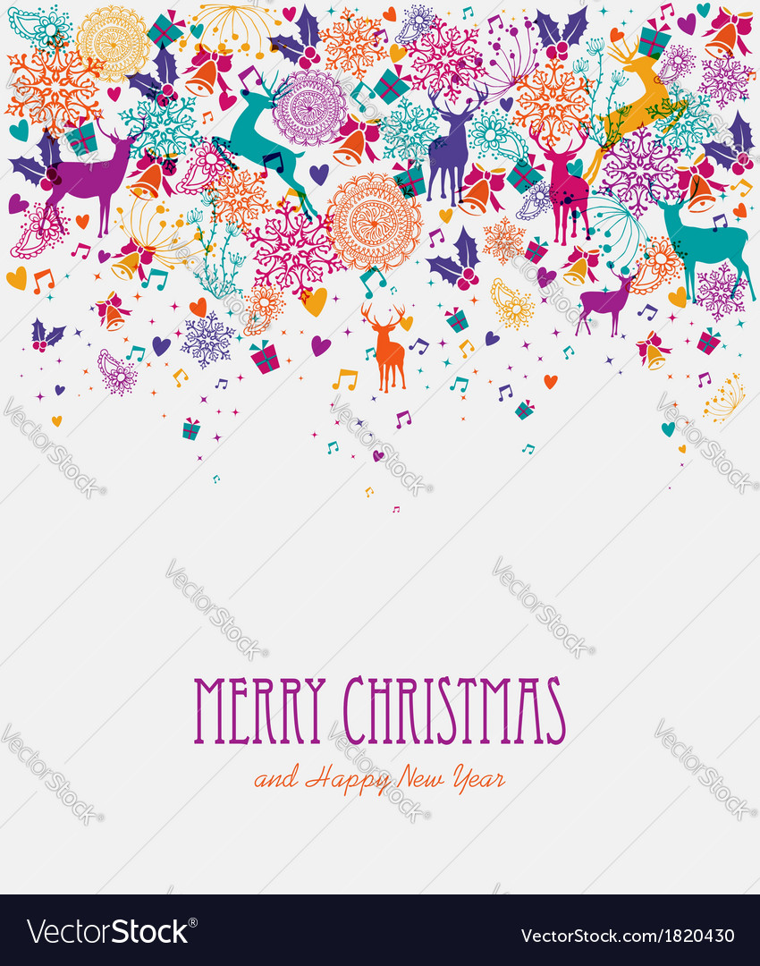 Merry christmas colorful greeting card vector | Price: 1 Credit (USD $1)