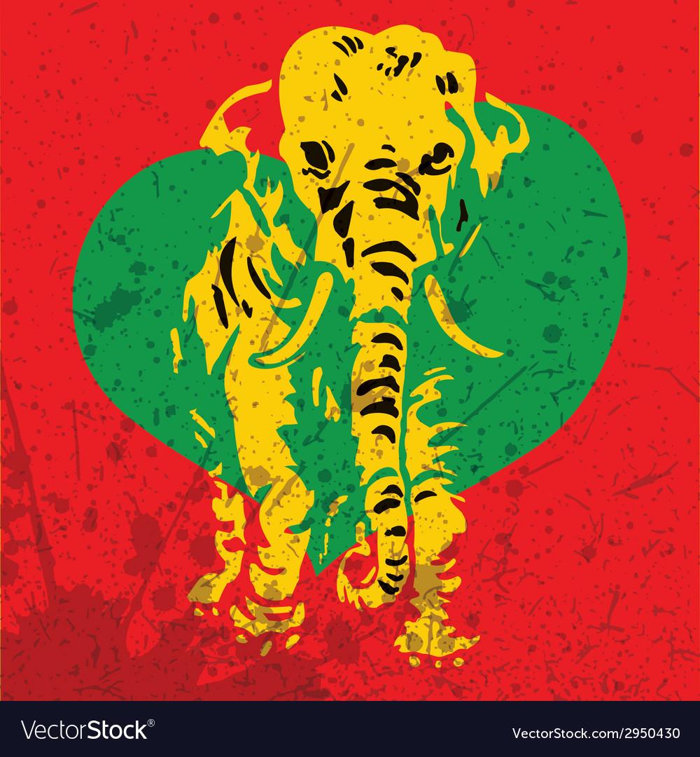 Retro elephant with heart vector | Price: 1 Credit (USD $1)
