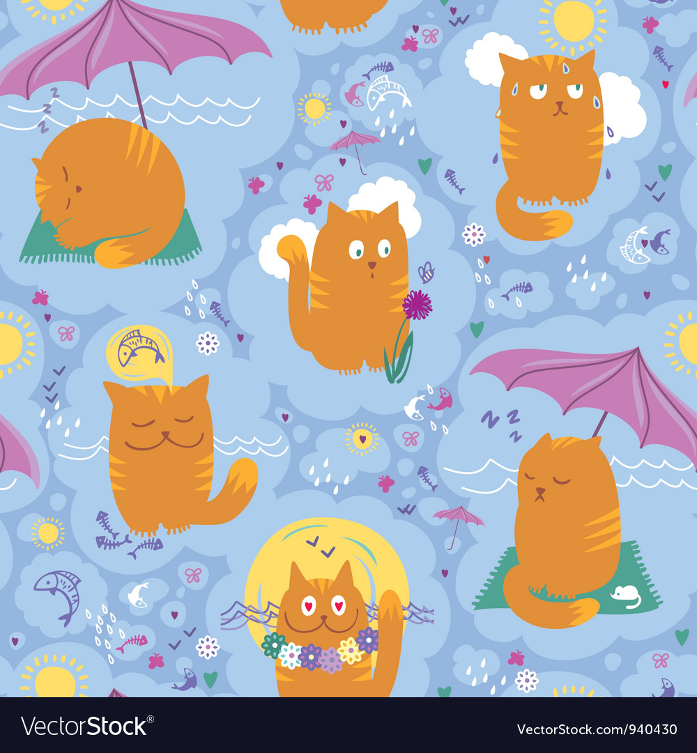 Seamless pattern cats and summer vacation vector | Price: 1 Credit (USD $1)