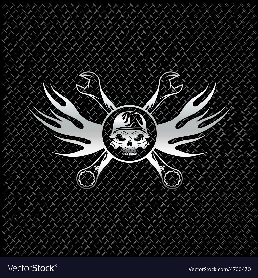 Silver skull in helmet with flames and wrenches vector | Price: 1 Credit (USD $1)