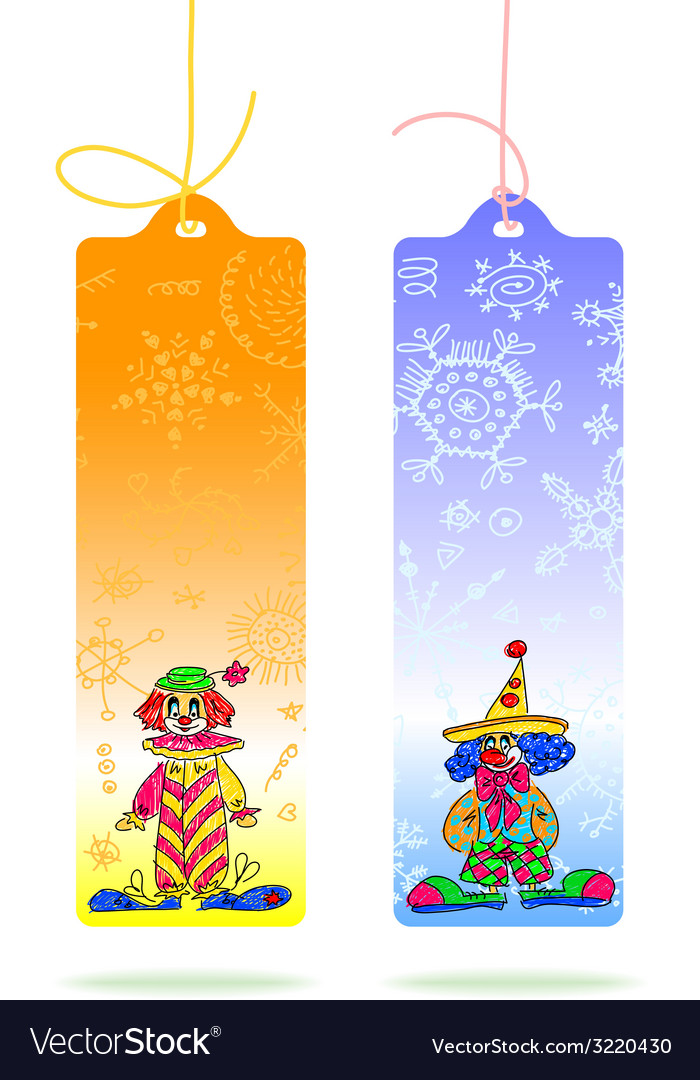 Tags with clowns vector | Price: 1 Credit (USD $1)