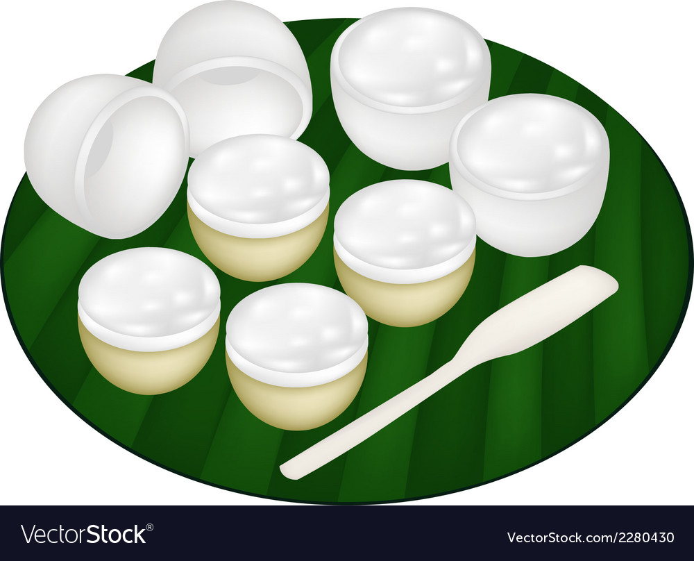 Thai dessert of coconut pudding on banana leaf vector | Price: 1 Credit (USD $1)