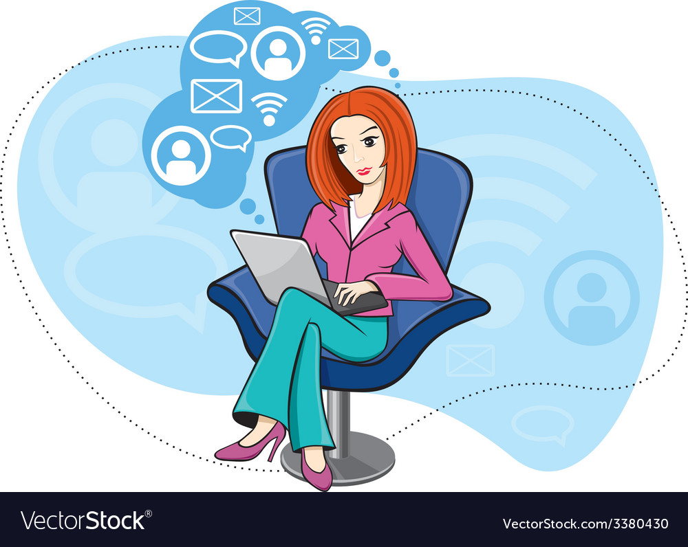 Woman sitting in chair working on notebook vector | Price: 1 Credit (USD $1)