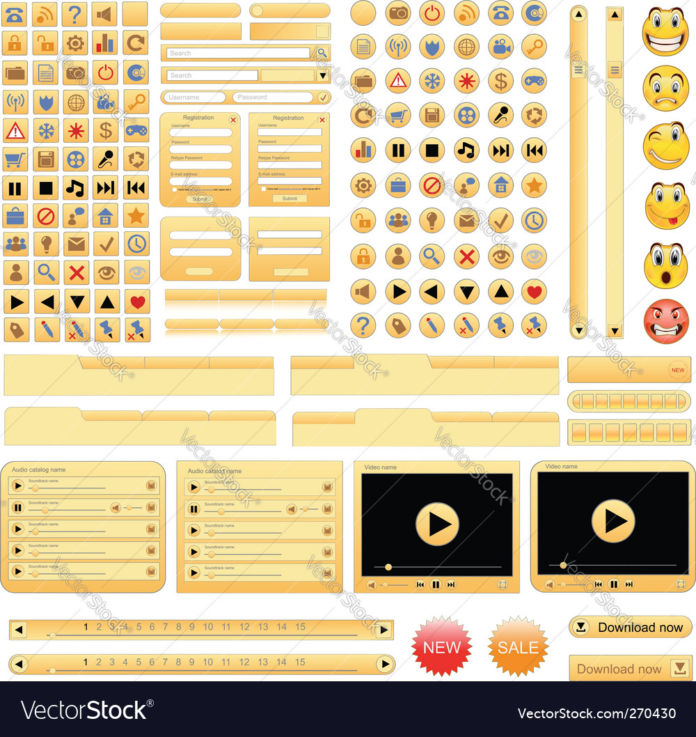Yellow web design elements set vector | Price: 3 Credit (USD $3)