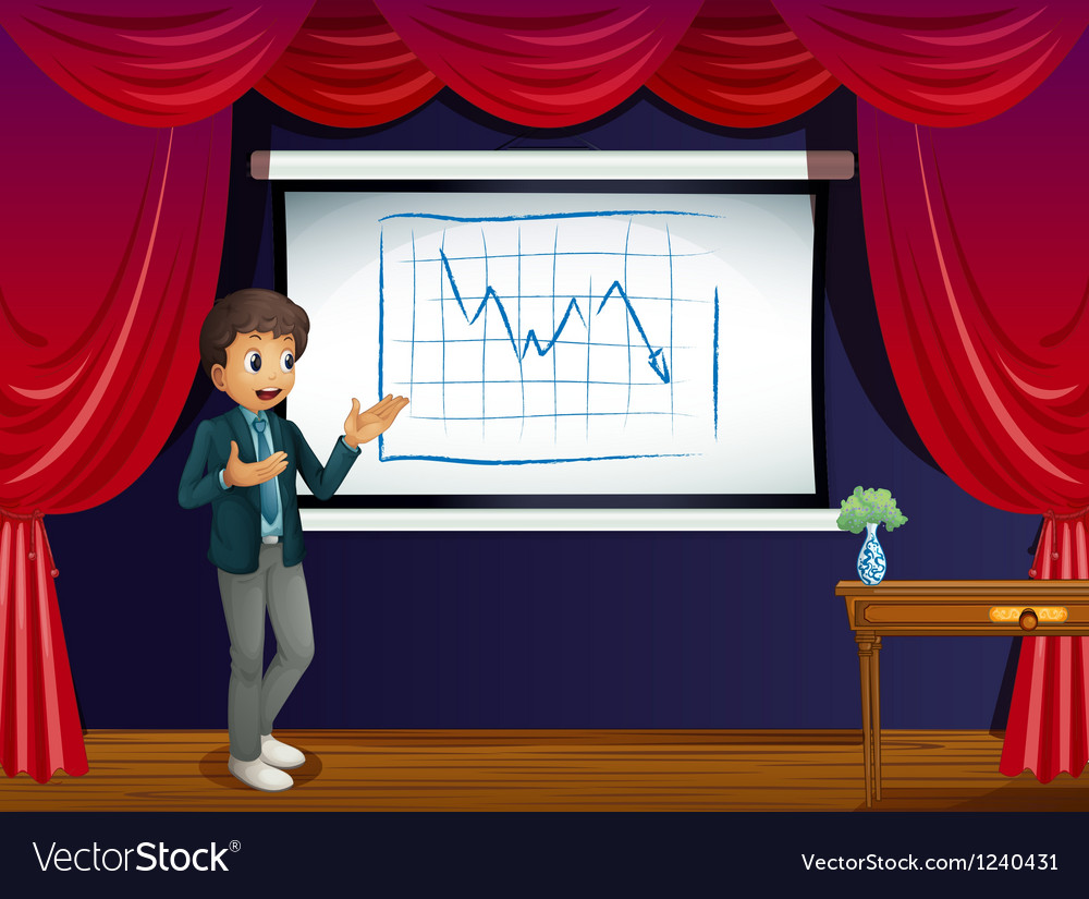 A stage with a boy presenting a line graph vector | Price: 1 Credit (USD $1)
