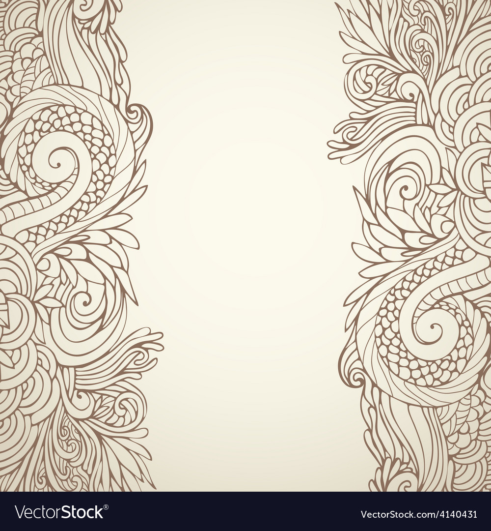 Brown outline floral on light 01 vector | Price: 1 Credit (USD $1)