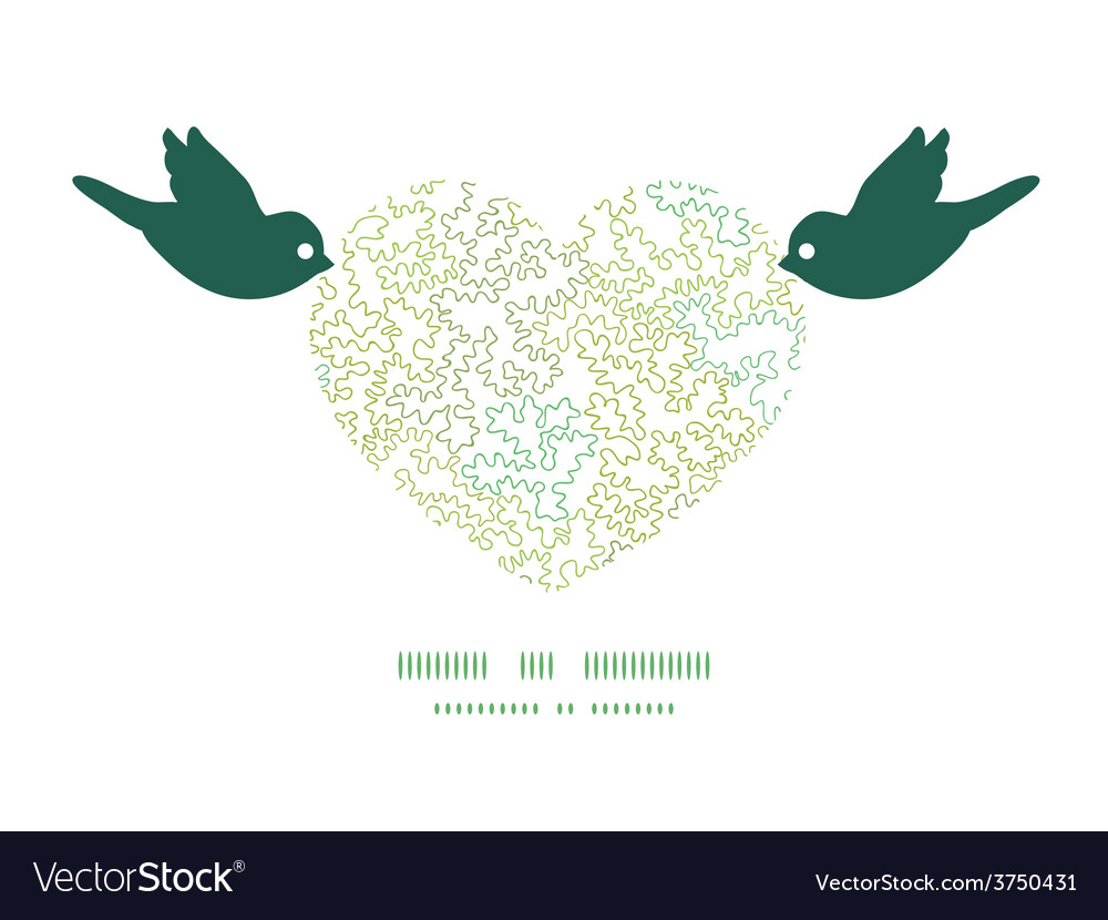 Curly doodle shapes birds holding heart vector | Price: 1 Credit (USD $1)