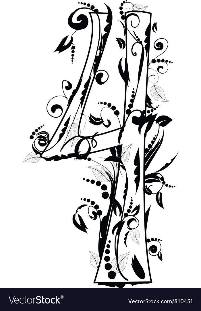 Foliage number 4 vector | Price: 1 Credit (USD $1)