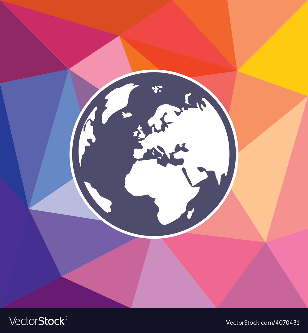 Hand drawn earth world globe on triangle vector | Price: 1 Credit (USD $1)