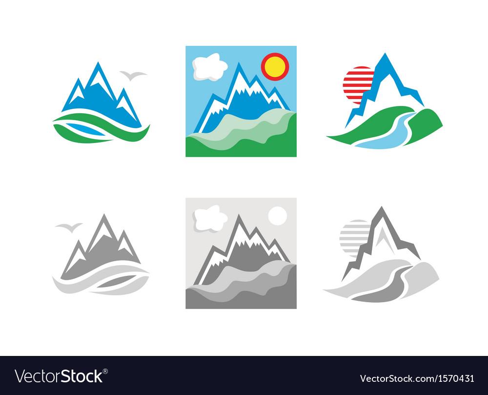 Mountains emblem set vector | Price: 1 Credit (USD $1)