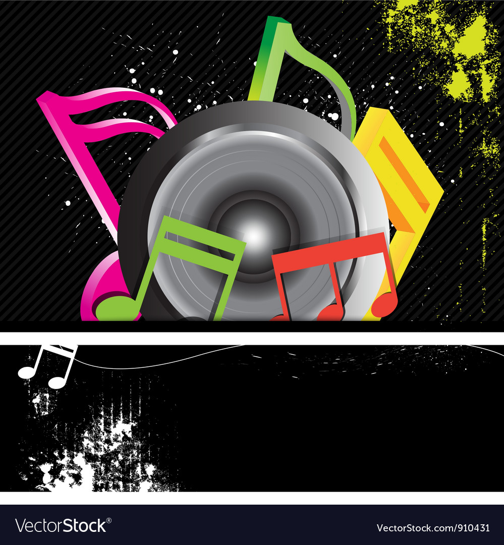 Music banner grunge style vector | Price: 1 Credit (USD $1)