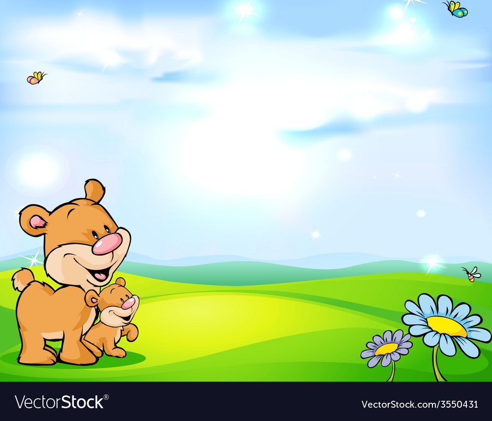 Natural background with sky green meadow flower vector   Price: 1 Credit (USD $1)