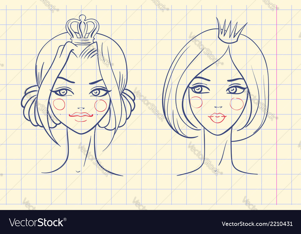 Princess sketches style in notebook vector | Price: 1 Credit (USD $1)