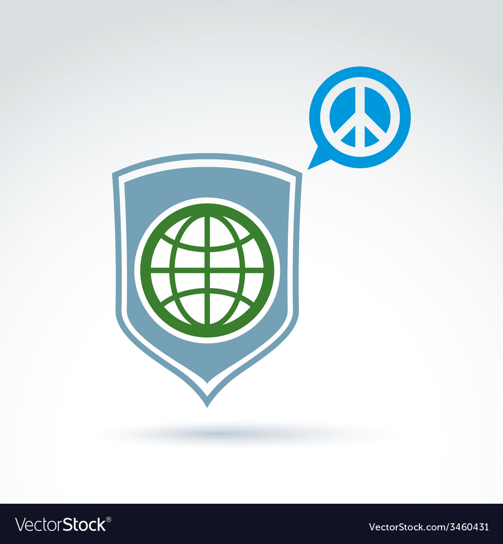 Round antiwar icon green planet on a shield and vector | Price: 1 Credit (USD $1)
