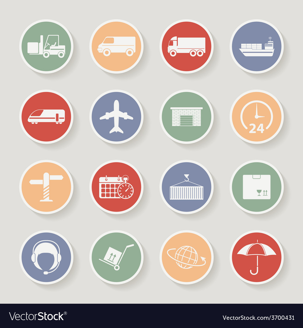 Shipping and logistics round icons vector | Price: 1 Credit (USD $1)