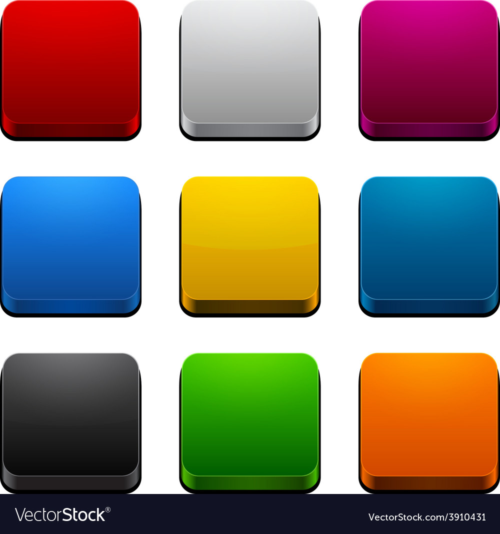 Square 3d color icons vector | Price: 1 Credit (USD $1)