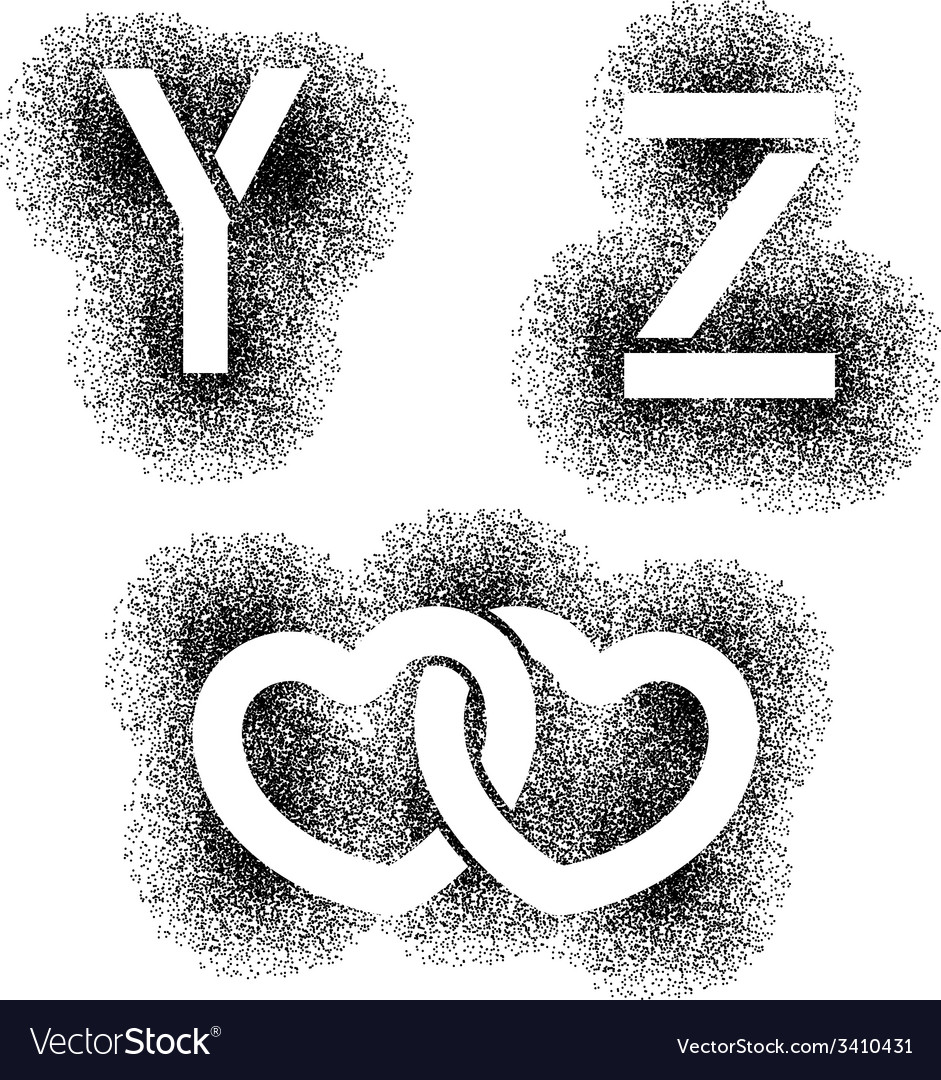 Stencil angular spray font letters y z hearts vector | Price: 1 Credit (USD $1)