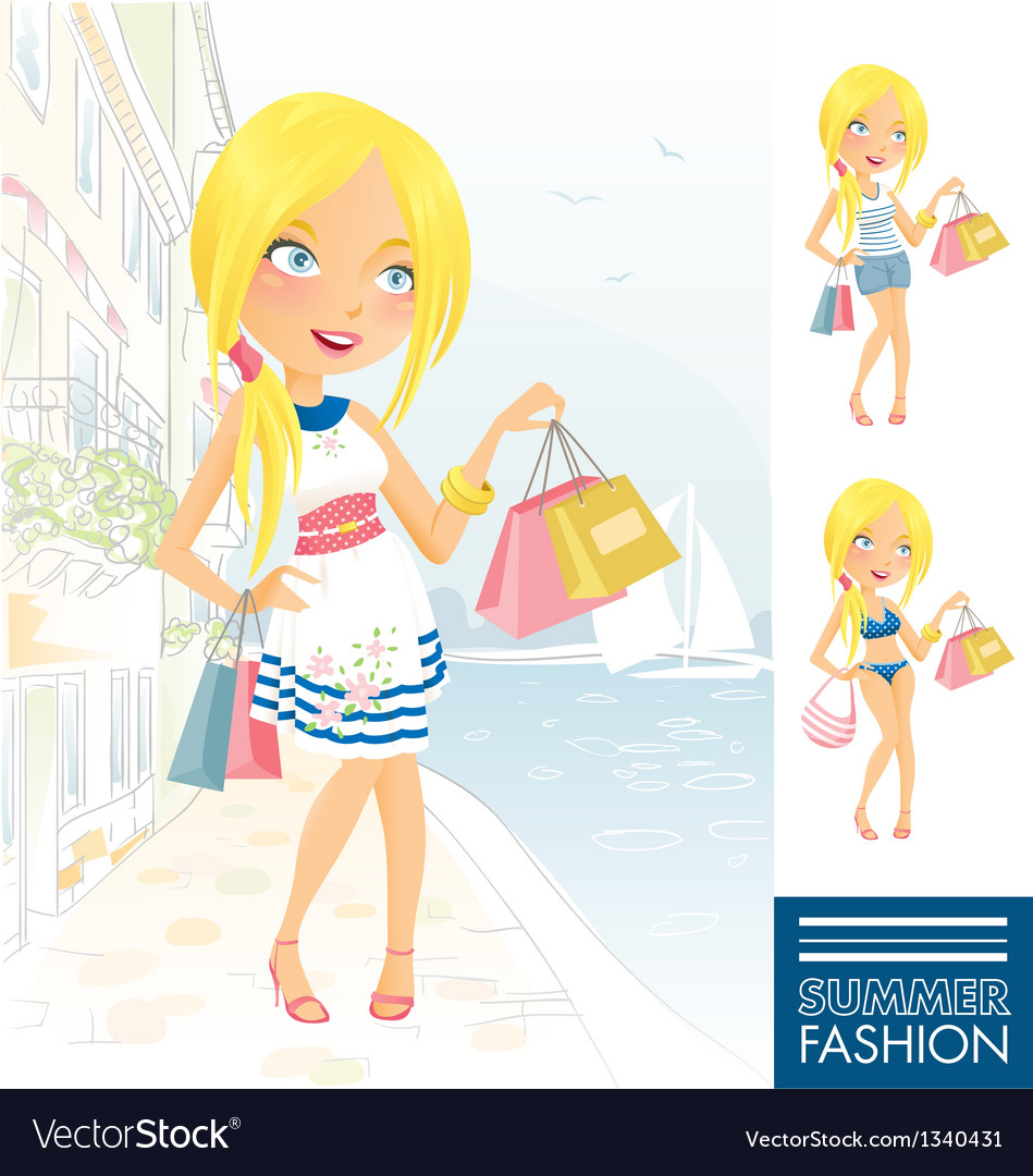 Summer fashion girl vector | Price:  Credit (USD $)