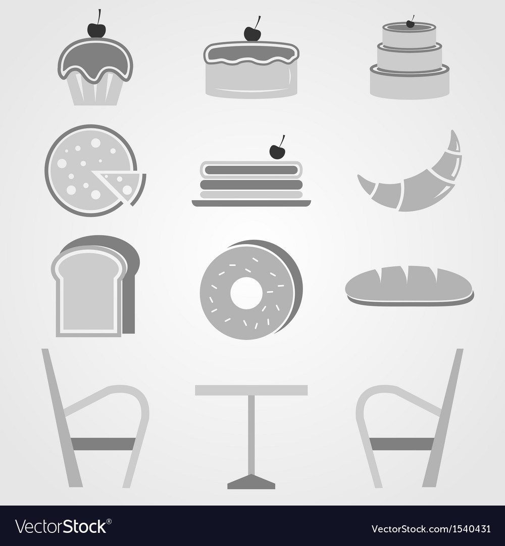 Variety of bakery icons in coffee shop vector | Price: 1 Credit (USD $1)