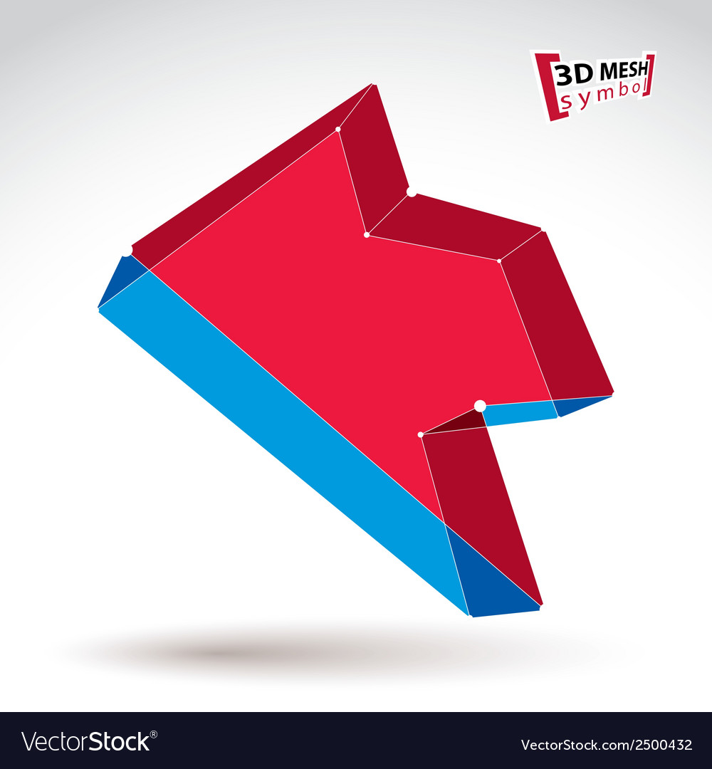 3d mesh trendy colorful backward arrow isolated on vector | Price: 1 Credit (USD $1)