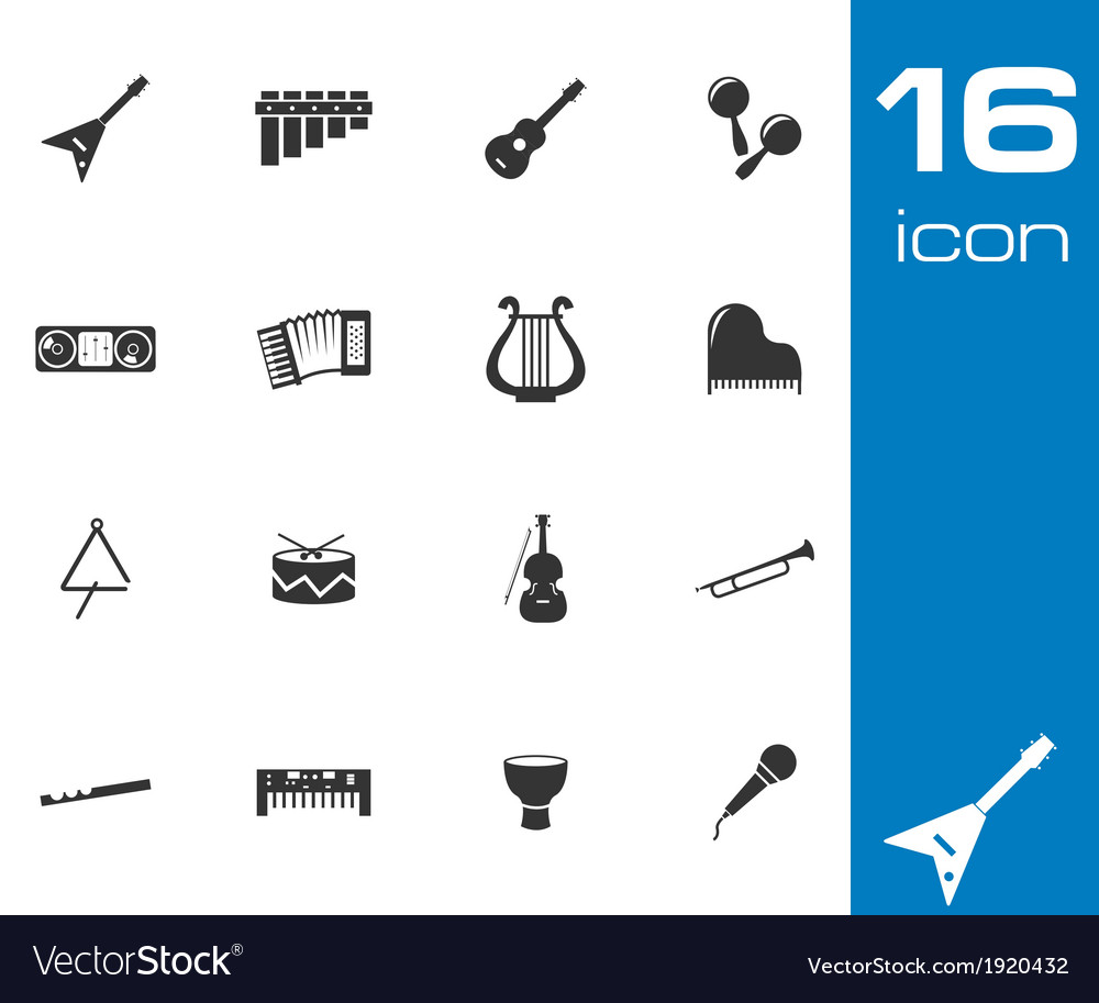Black music instruments icons set vector | Price: 1 Credit (USD $1)