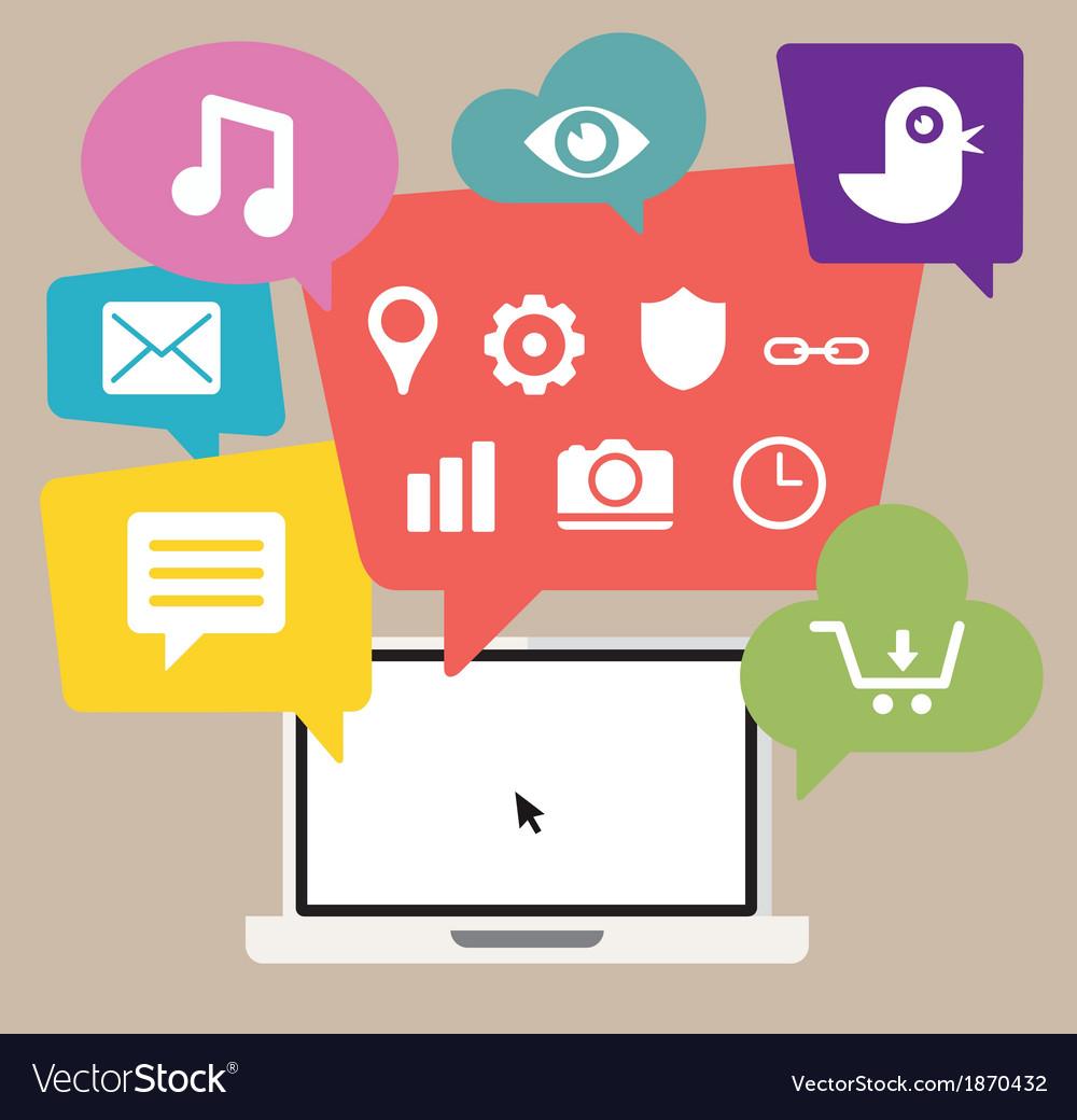 Cloud computing using a laptop vector | Price: 1 Credit (USD $1)