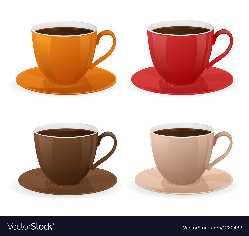 Cup of coffee set vector | Price: 3 Credit (USD $3)