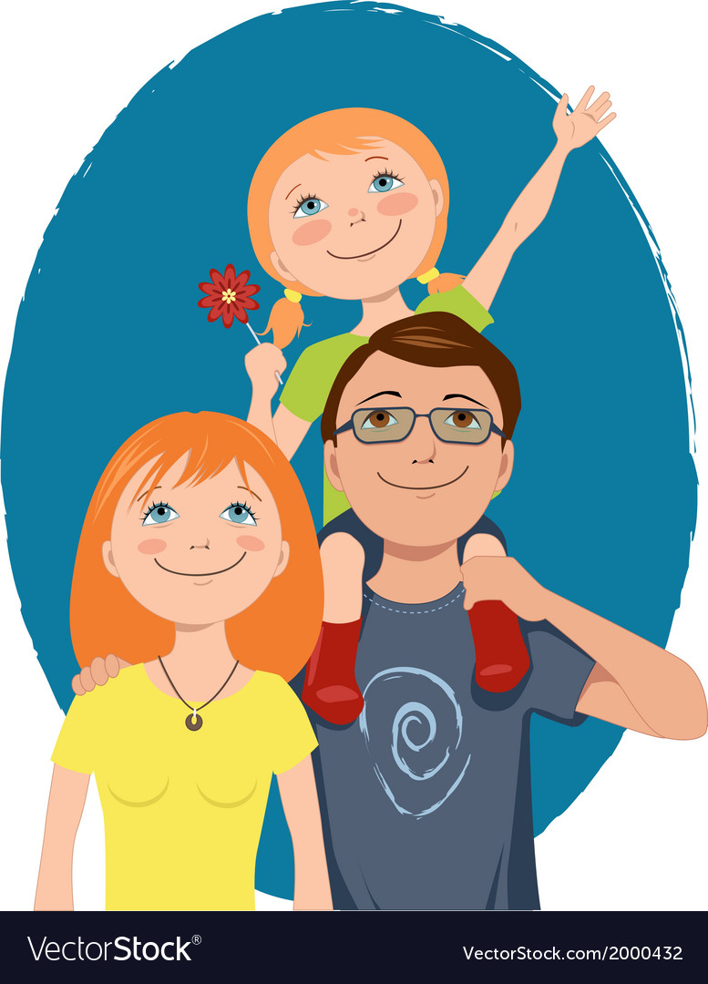 Cute cartoon family vector | Price: 1 Credit (USD $1)
