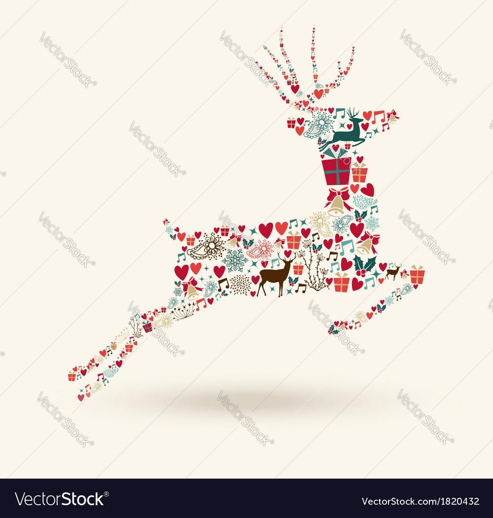 Merry christmas jump deer vector | Price: 1 Credit (USD $1)