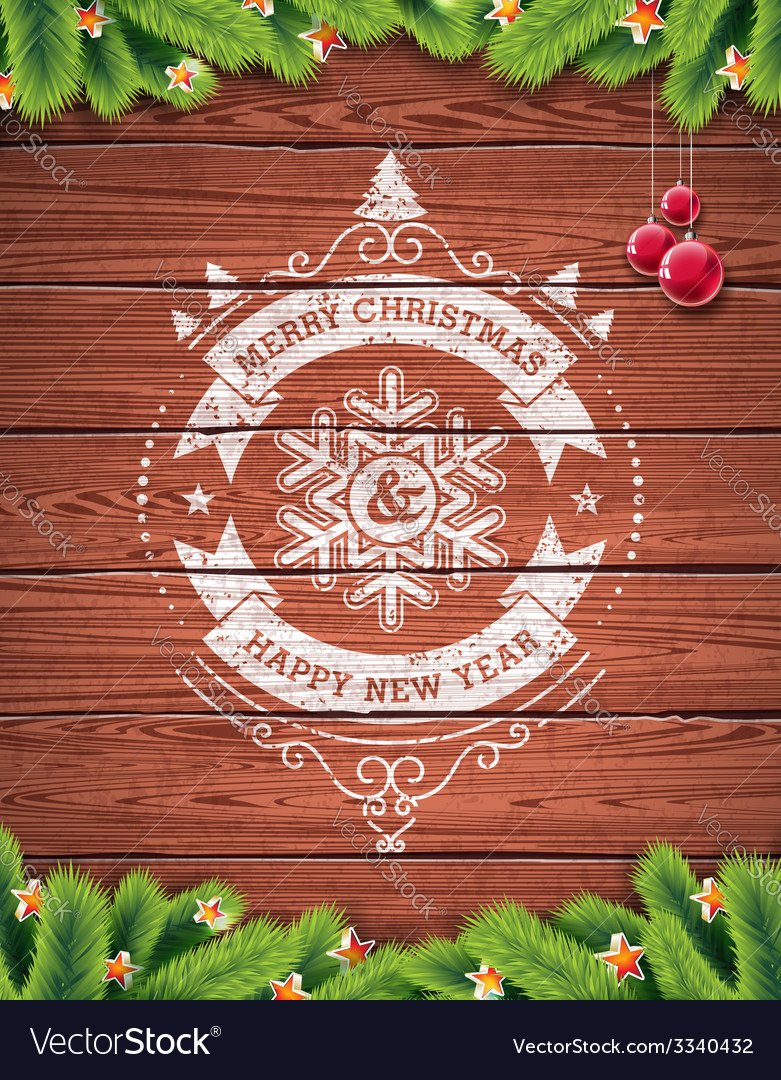 Painted vintage merry christmas typographic design vector
