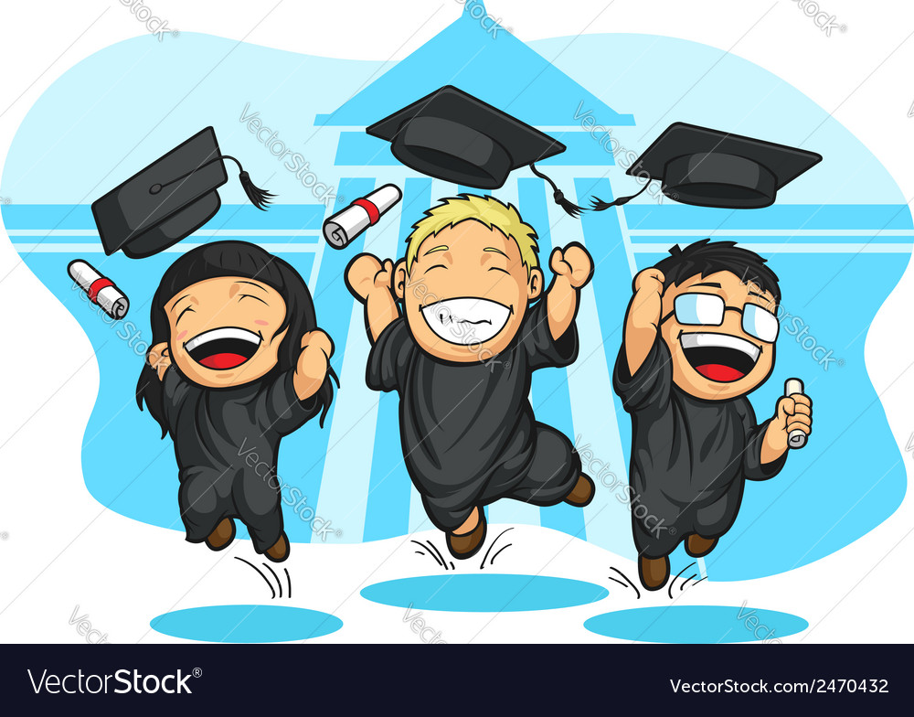 School college graduation cartoon vector | Price: 1 Credit (USD $1)