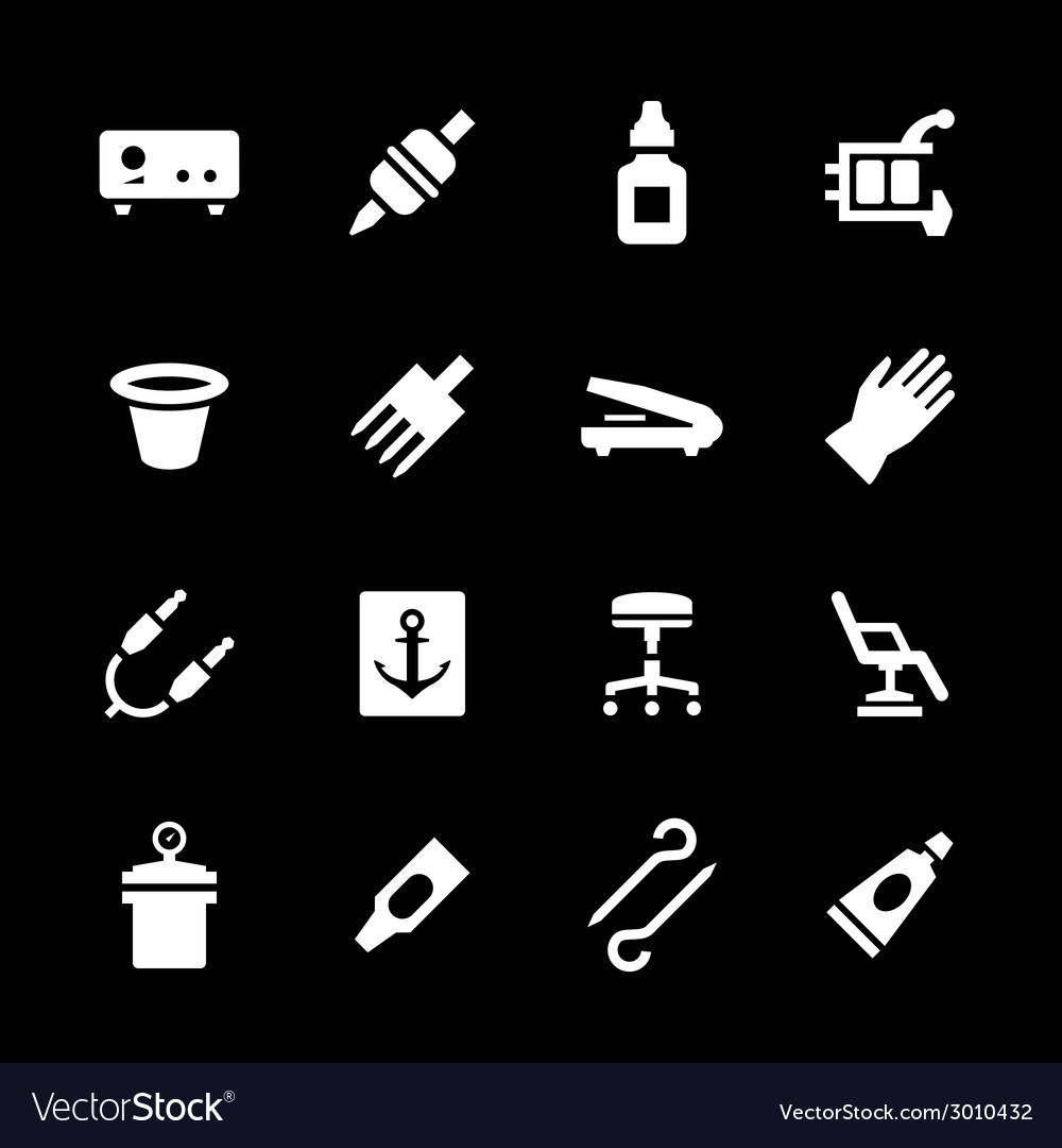 Set icons of tattoo equipment and accessories vector | Price: 1 Credit (USD $1)
