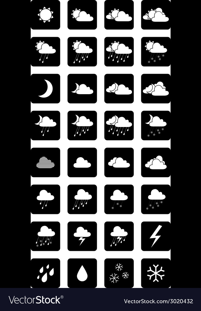 Set of square black and white weather icons vector | Price: 1 Credit (USD $1)