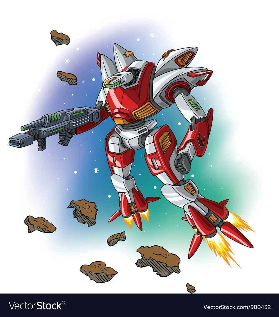 Space flying robot vector   Price: 3 Credit (USD $3)