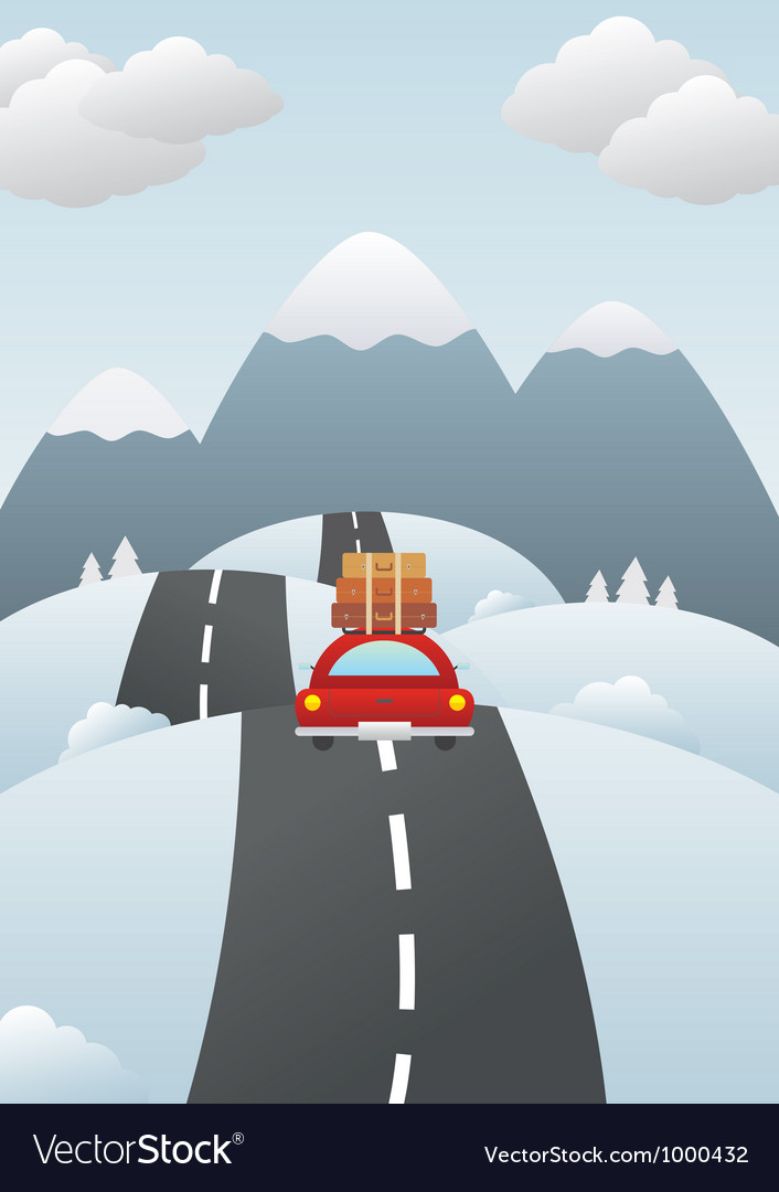 Winter landscape with car on the road vector | Price: 1 Credit (USD $1)