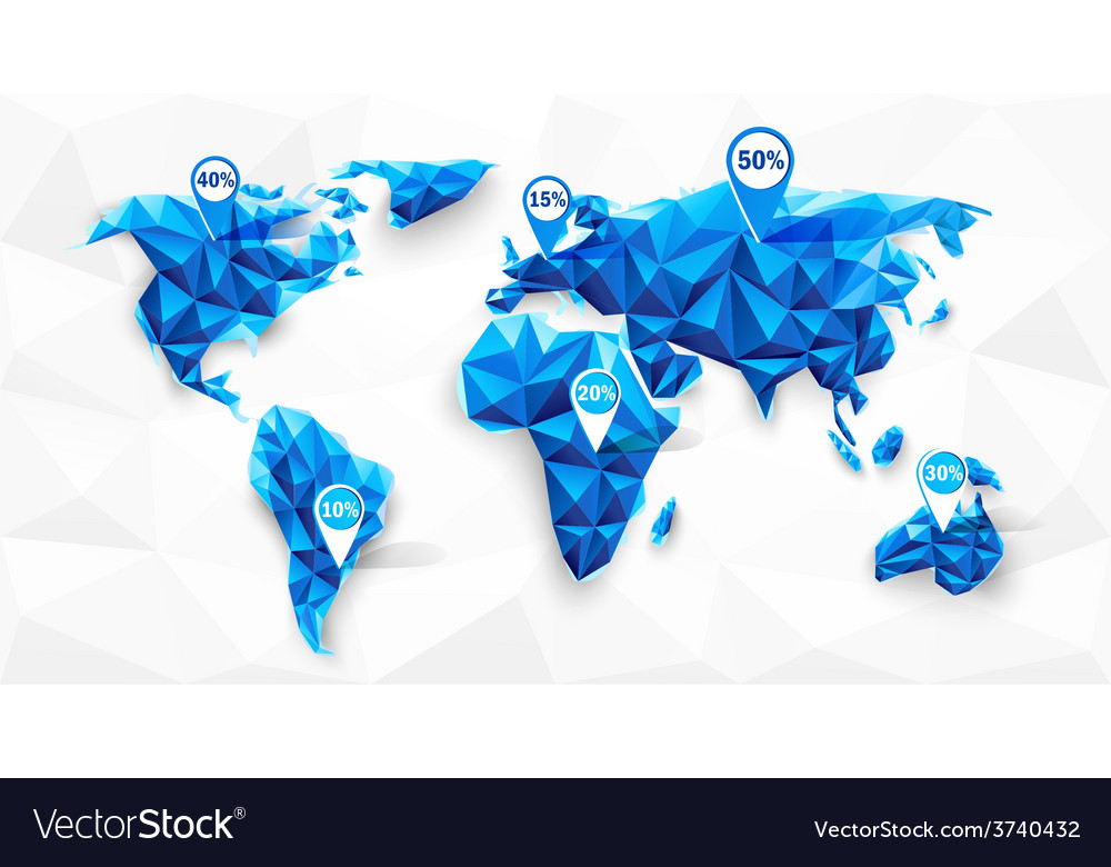 World map poly vector | Price: 1 Credit (USD $1)