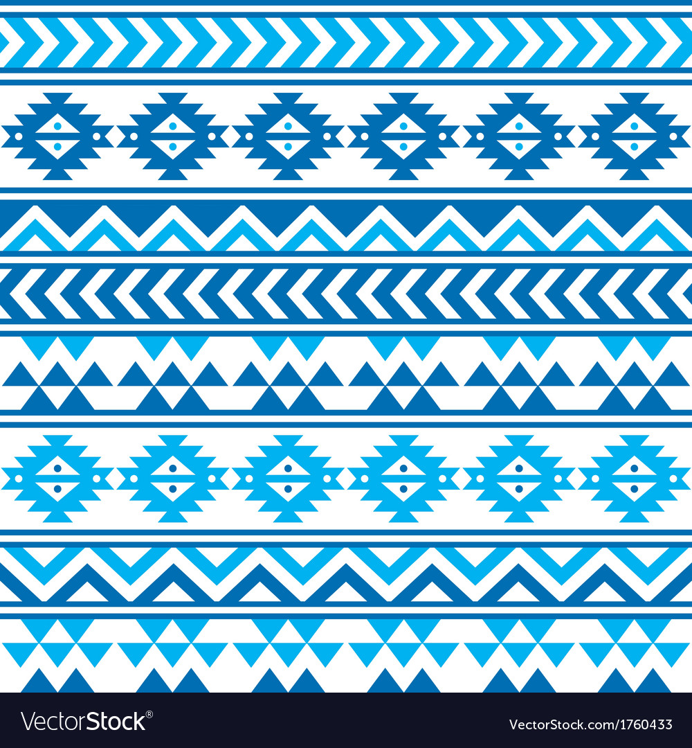Aztec tribal seamless blue and navy pattern vector | Price: 1 Credit (USD $1)
