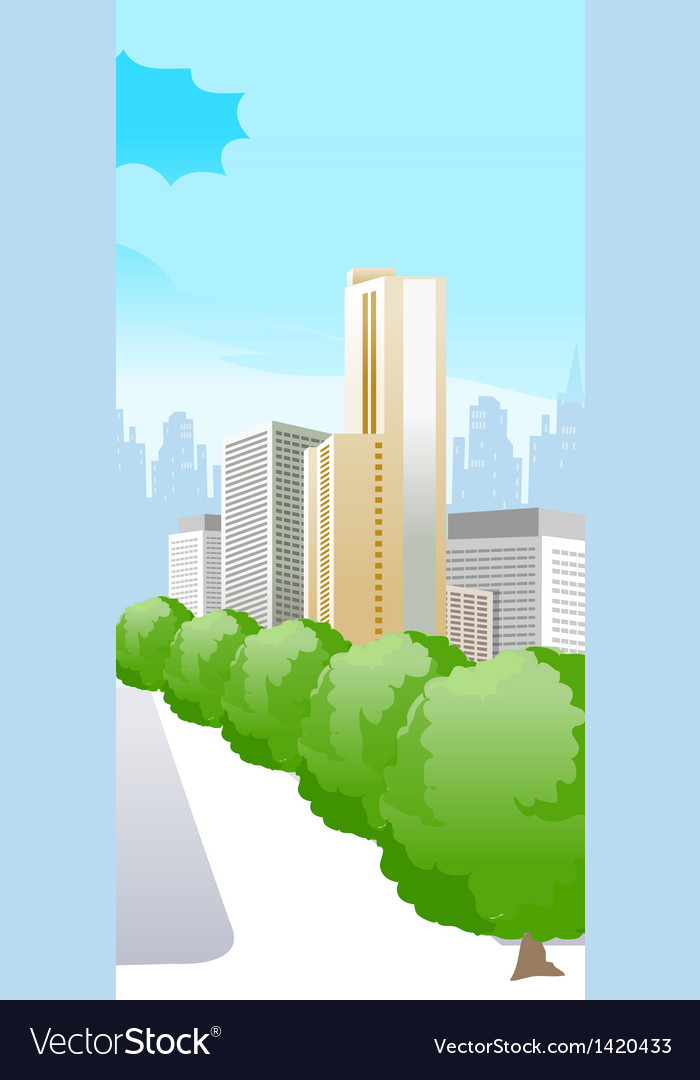 City with trees vector   Price: 1 Credit (USD $1)