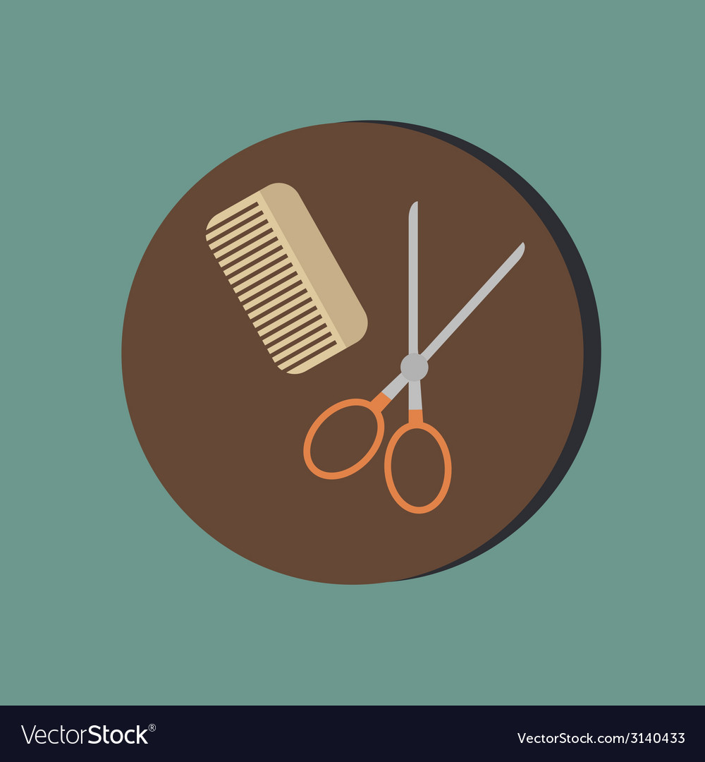 Comb and scissors barbershop symbol of hair and vector | Price: 1 Credit (USD $1)