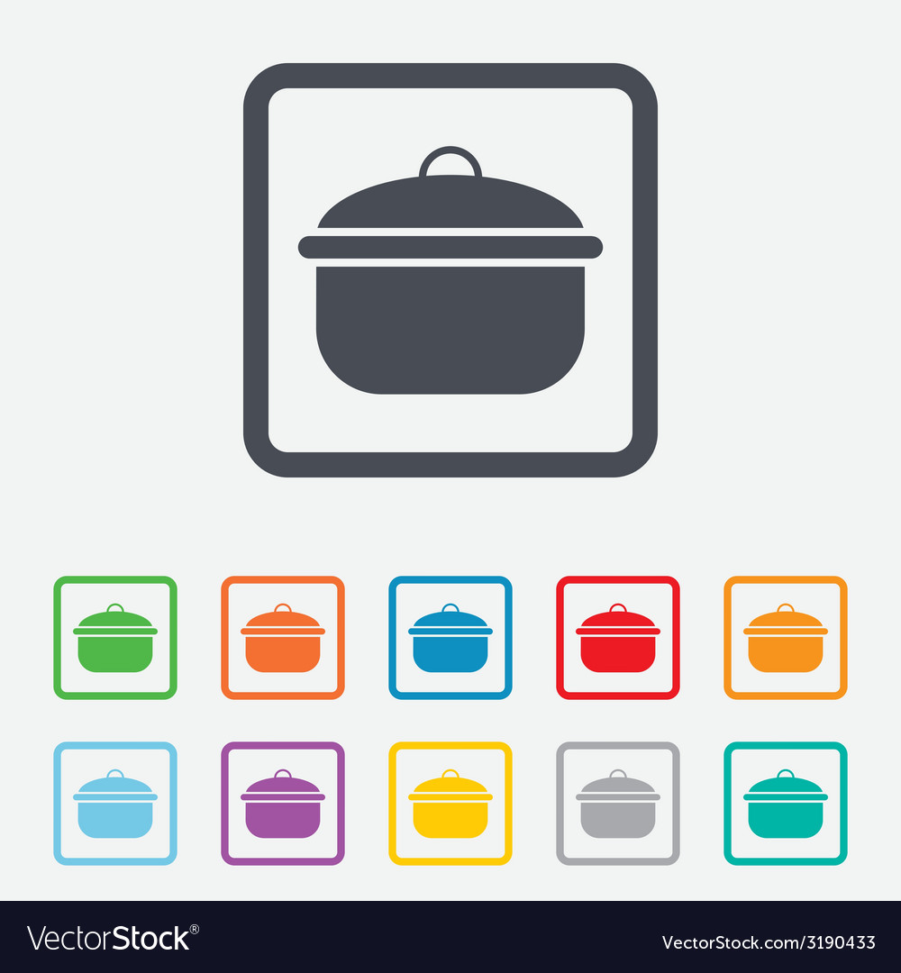 Cooking pan sign icon boil or stew food symbol vector | Price: 1 Credit (USD $1)