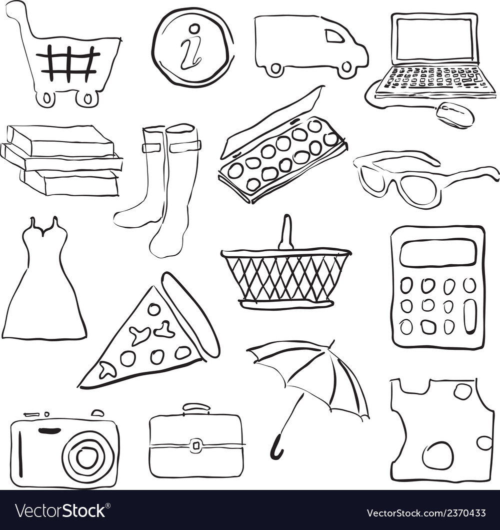 Doodle shopping pictures vector | Price: 1 Credit (USD $1)