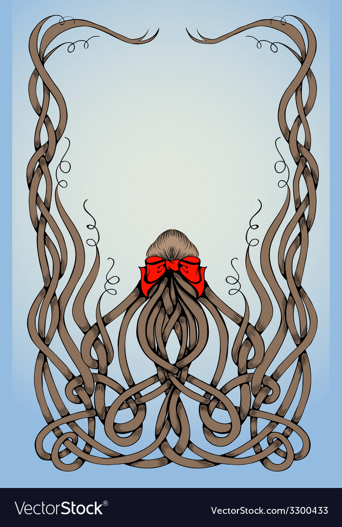 Frame made by long hair with big red bow vector | Price: 1 Credit (USD $1)