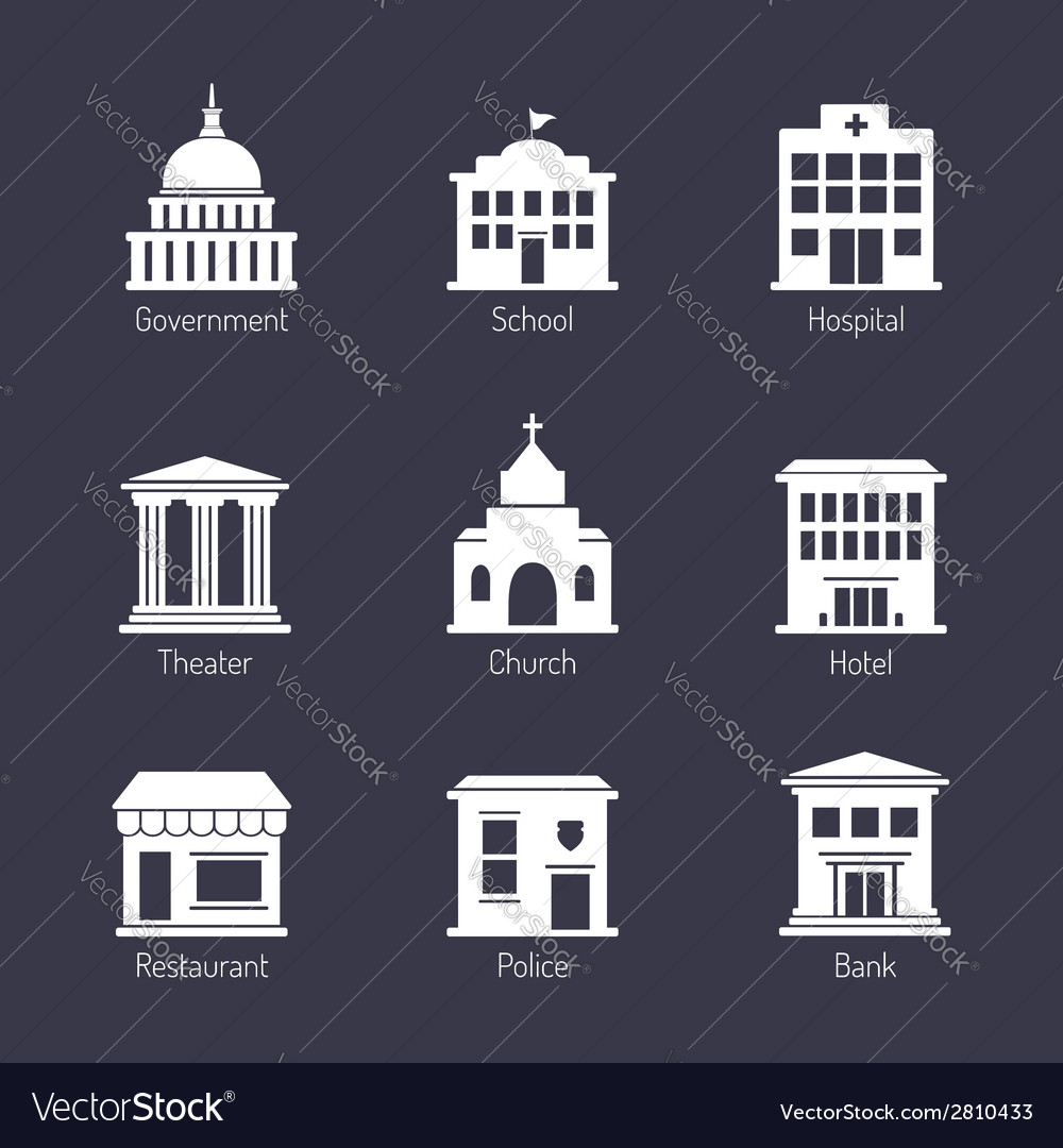 Government building icons set vector | Price:  Credit (USD $)