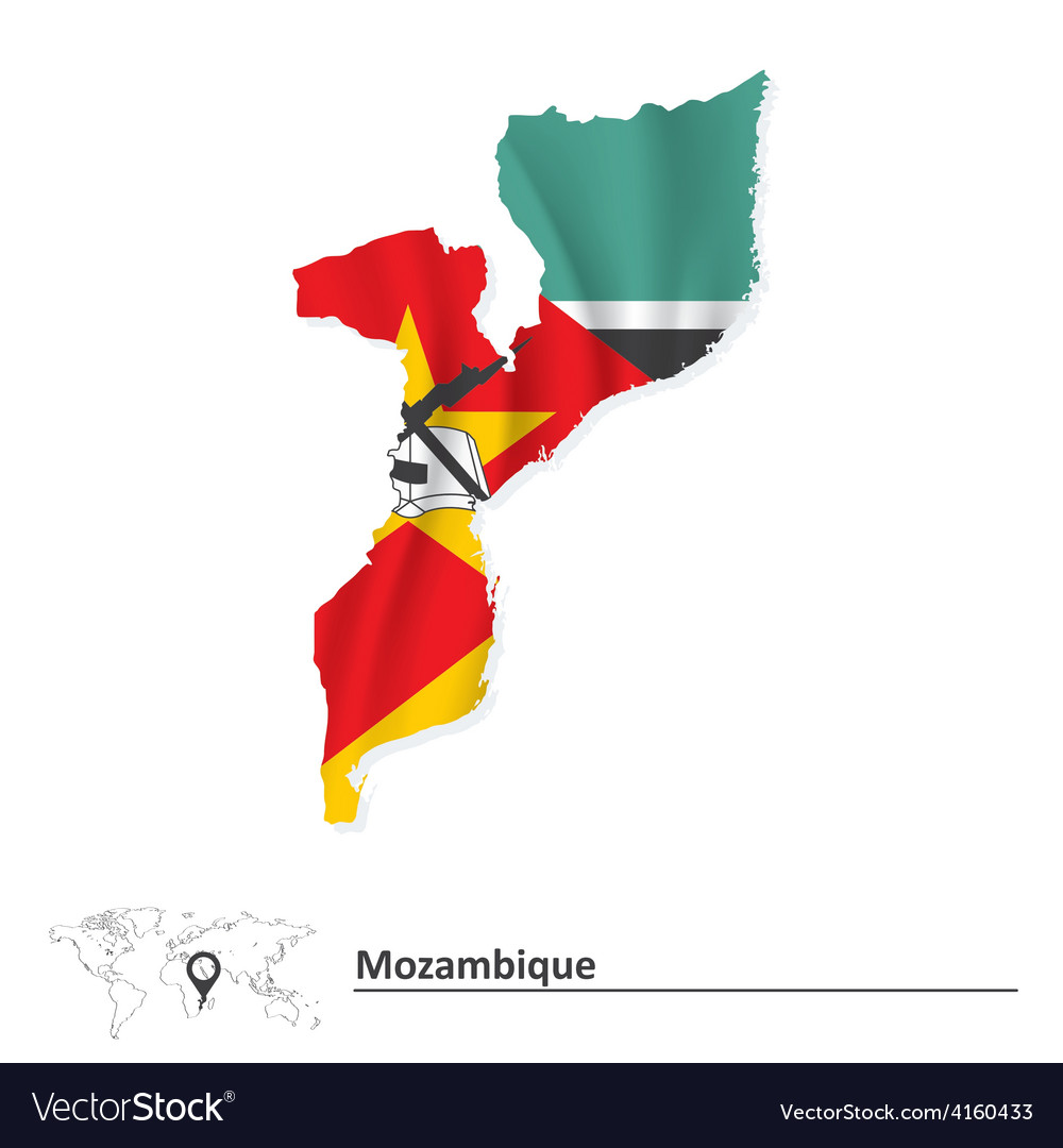 Map of mozambique with flag vector | Price: 1 Credit (USD $1)