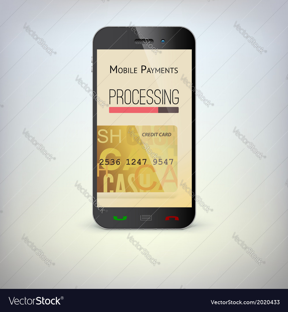 Mobile phone payment process via a smartphone vector | Price: 1 Credit (USD $1)