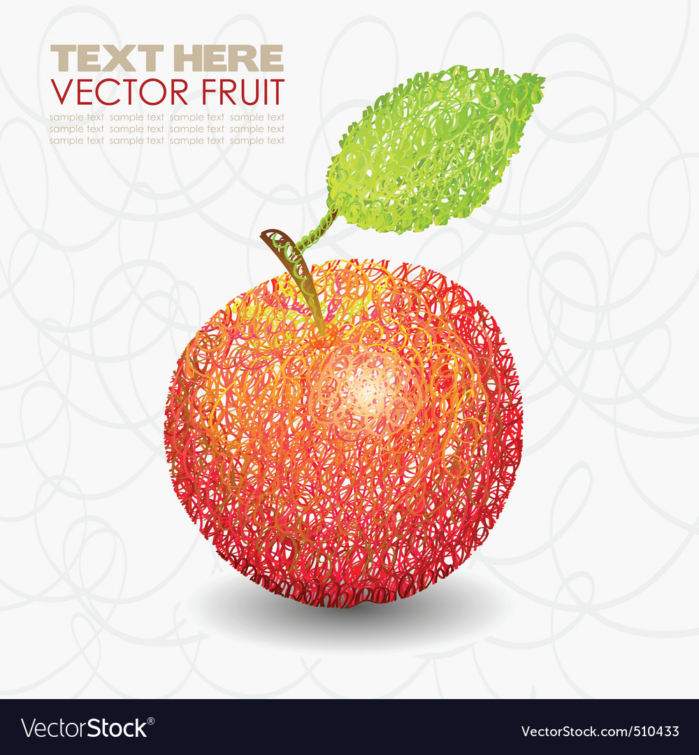 Red apple fruit designs with leaf vector | Price: 1 Credit (USD $1)