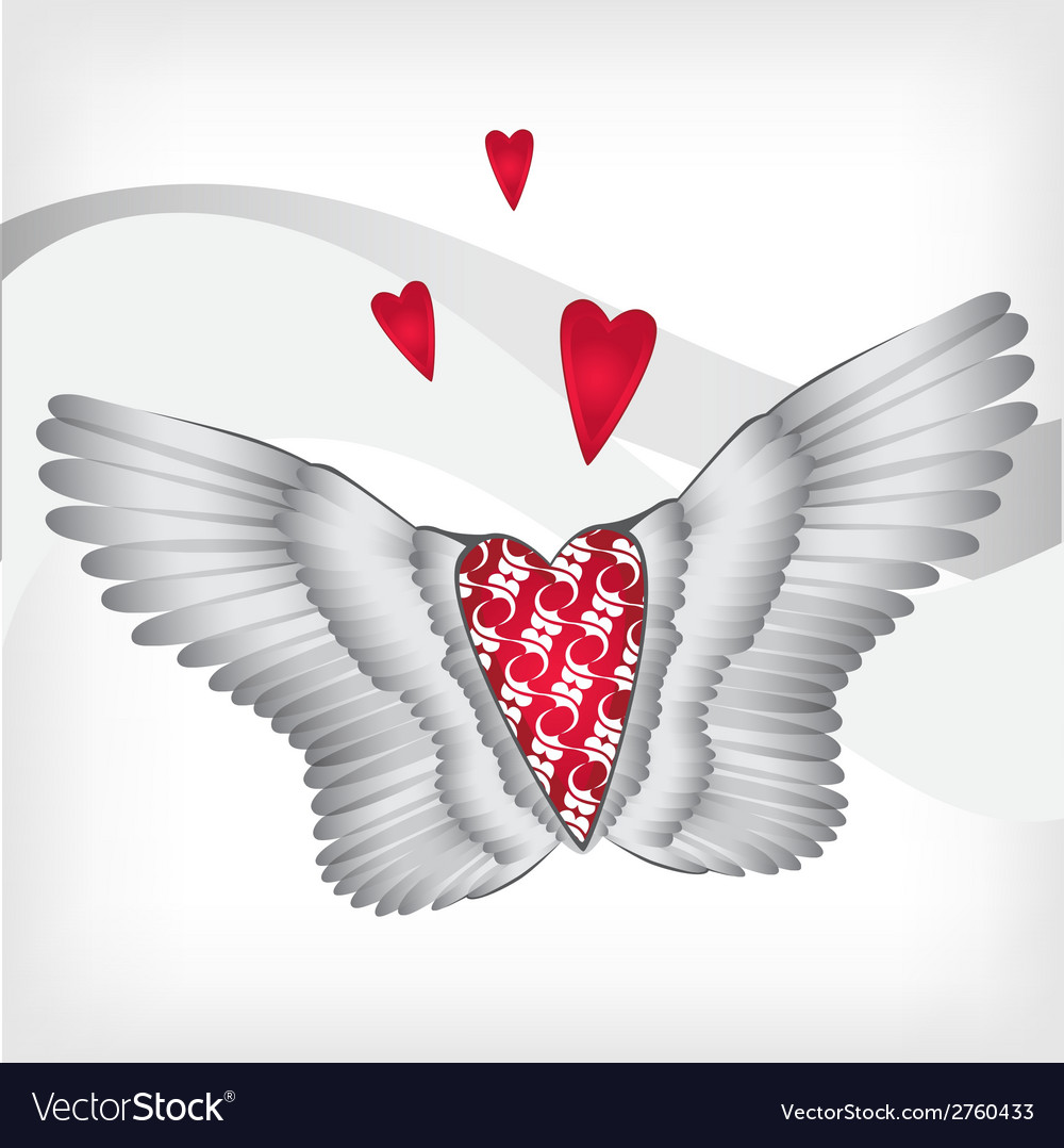 Red heart with wings vector | Price: 1 Credit (USD $1)